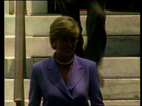 Princess of Wales US Reactions Princess Diana Death Princess of Wales US Reactions LIB MAT HELD IN BUREAU Princess Diana in purple suit walking...