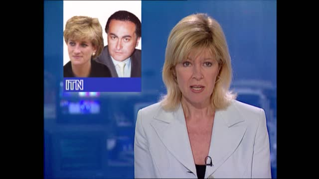princess diana / dodi fayed relationship rumours: lunchtime news pab; england: london: gir: int live studio presenter julia somerville to camera sot... - gossip stock videos & royalty-free footage