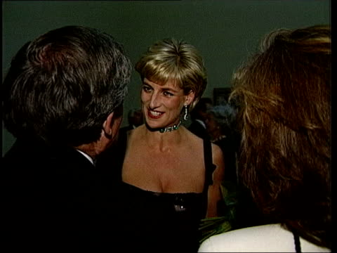 princess diana feared plot to kill her lib london princess diana talking to partygoer - principessa video stock e b–roll