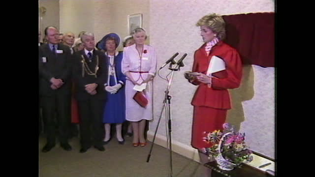 """princess diana gives a speech on drug addiction at a newcastle drug clinic saying: """"we have a battle on our hands. it has to be waged on two major... - care stock videos & royalty-free footage"""