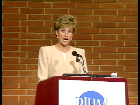 Princess Diana gives speech on perils of eating disorders London 27 Apr 93