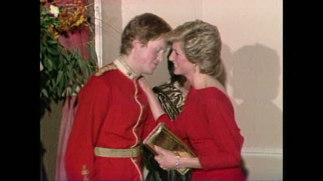 princess diana greets her brother charles spencer, at the time viscount althorp, kissing him on both cheeks and then receives a bunch of flowers from... - people stock videos & royalty-free footage