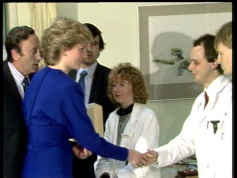 Princess Diana greets staff at opening of AIDS ward at Middlesex Hospital London 09 Apr 87