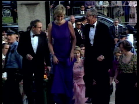 princess diana greets well wishers and walks up steps to function in long blue evening dress chicago; 12 jul 96 - fame stock videos & royalty-free footage