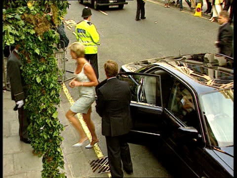 princess diana holiday lib london christies diana princess of wales from car on arrival at auction house to view dresses that she auctioned for... - versteigerung stock-videos und b-roll-filmmaterial
