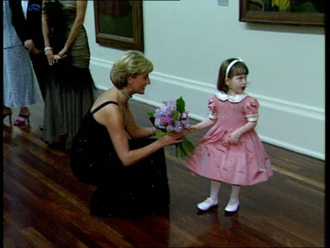 Princess Diana Holiday LIB London Tate Gallery Diana Princess of Wales chatting with others on her 36th birthday during a fund raising reception and...