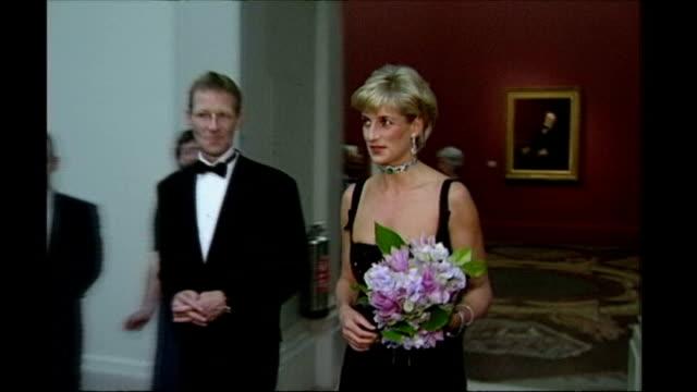 princess diana inquest: interview with hasnat khan; r01079712 england: london: tate gallery: **beware flash photography** princess diana, wearing... - princess stock videos & royalty-free footage