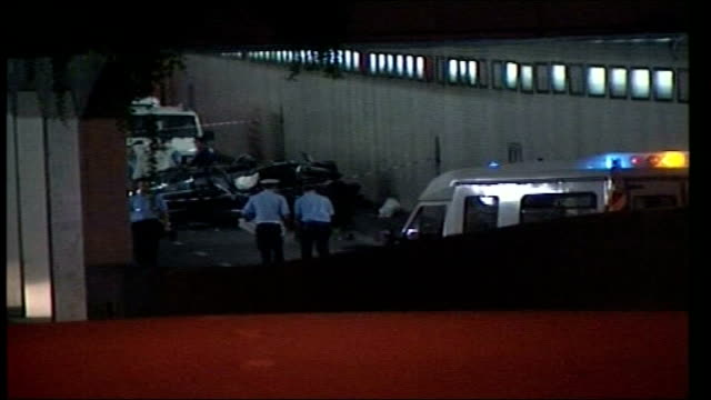 jury visits scene of crash lib wreckage of princess diana's crashed mercedes car in tunnel - autounfall stock-videos und b-roll-filmmaterial