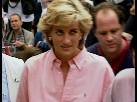 Princess Diana landmines visit 1815 Diana Princess of Wales towards Rosetta Gaboric towards on crutches Diana towards to shake man as press around...