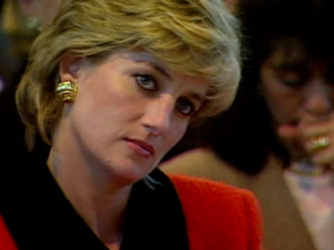 princess diana looking thoughtful as she listens to a speech at the english national ballet school - 1995 stock-videos und b-roll-filmmaterial