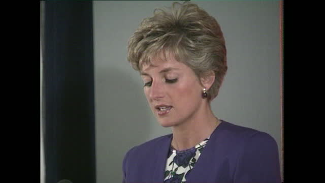 princess diana speaks at a conference organised by the national aids trust in london where she highlights the dangers of growing prejudice against... - medium shot stock videos & royalty-free footage