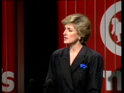Princess Diana speaks at charity conference about young people at risk England 18 Oct 88
