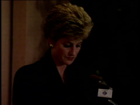 Princess Diana speaks of her gratitude to charities she has supported during speech announcing her intention to leave public life London 03 Dec 93