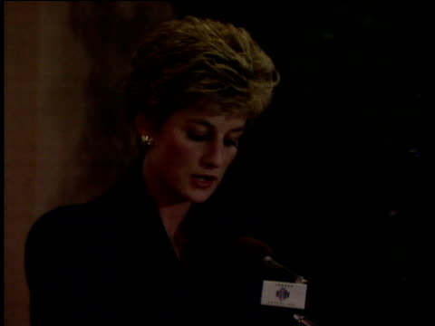 Princess Diana talks of Princes William and Harry being her continuing priority during speech announcing her intention to leave public life London 03...
