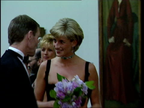 stockvideo's en b-roll-footage met princess diana tapes played on us television lib london tate gallery diana princess of wales in a black dress at an art gallery zoom in - prinses
