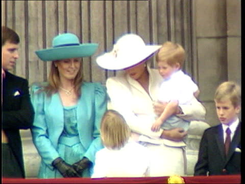 Princess Diana tapes played on US television POOL Buckingham Palace Royal family on balcony of Buckingham Palace MS Diana Princess of Wales holding...