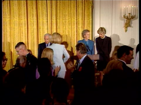 Princess Diana visit NAT Washington DC MS Princess and others seated at table CMS Ditto BV Hillary Clinton prepares to speak at reception CMS...