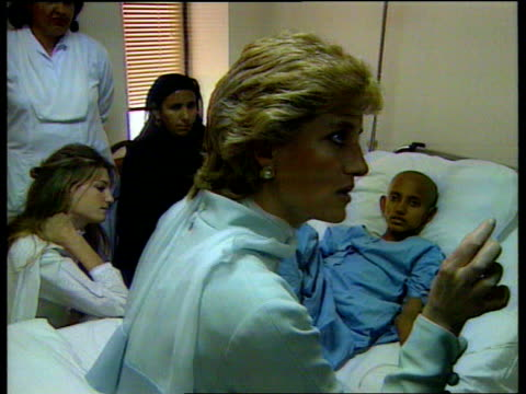 princess diana visits pakistan:; b)naf: pakistan: lahore: shaukat khanum hospital: int lms jemima khan , her mother lady annabel goldsmith & princess... - punjab pakistan stock videos & royalty-free footage