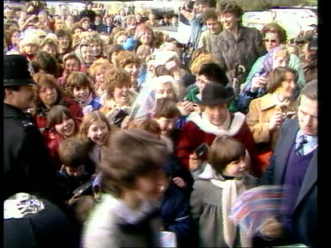 princess diana visits royal marsden hospital england lms princess of wales in maroon coat and matching hat surrey walks towards and given flowers... - coat stock videos & royalty-free footage