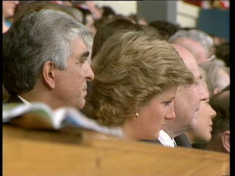 Princess Diana watching match from Royal box with Sam Hammam Wimbledon owner Liverpool vs Wimbledon 1988 FA Cup Final Wembley London