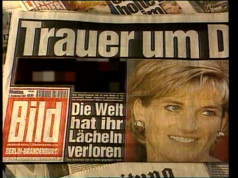 Princess Diana's Death Privacy Laws ITN German tabloid which published picture of Princess Diana blacked out i/c