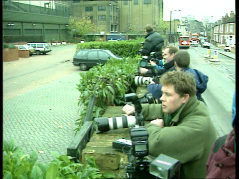 Princess Diana's Death Privacy Laws LIB Photographers with cameras lined along wall London Chelsea Princess Diana along