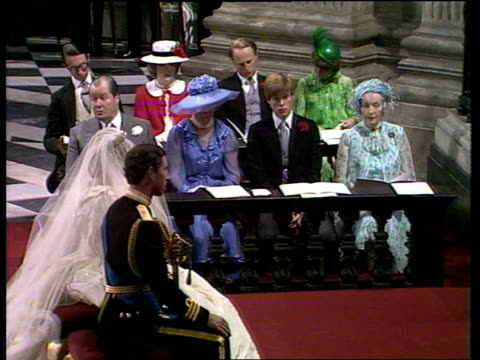 Princess Diana's grandmother Lady Fermoy dies ULM3145 ITN St Paul's Princess Prince Charles kneeling during their wedding ceremony Lady Fermoy seated...
