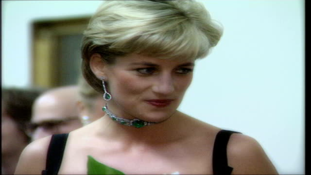 princess diana's sons plan concert to mark tenth anniversary of her death r01079712 london int diana princess of wales at a party dissolve slow... - sleeveless dress stock videos and b-roll footage