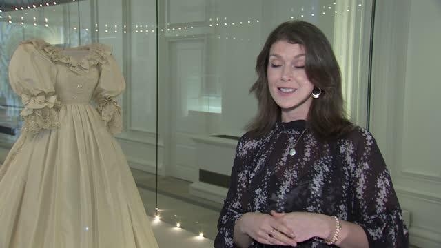 princess diana's wedding dress on display at kensington palace; england: london: kensington palace: int claudia acott williams interview sot. q -... - dress stock videos & royalty-free footage