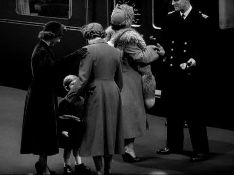 princess elizabeth and prince philip arrive at euston station and greet prince charles, princess margaret and queen elizabeth. - station stock videos & royalty-free footage
