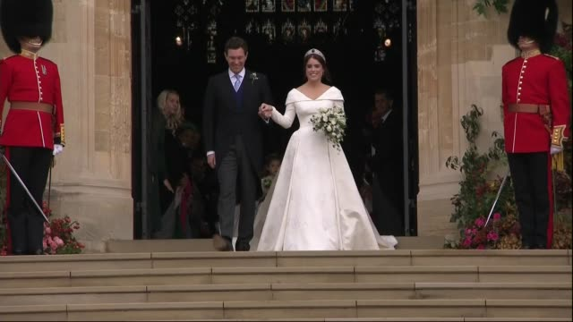 princess eugenie and jack brooksbank marry at windsor castle; england: berkshire: windsor: windsor castle: ext princess eugenie of york, now princess... - princess stock videos & royalty-free footage