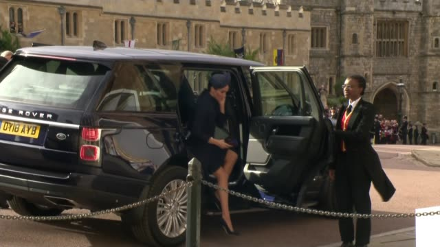 princess eugenie and jack brooksbank marry at windsor castle uk berkshire windsor princess eugenie of york and wedding guests arriving at st george's... - fiancé stock videos and b-roll footage