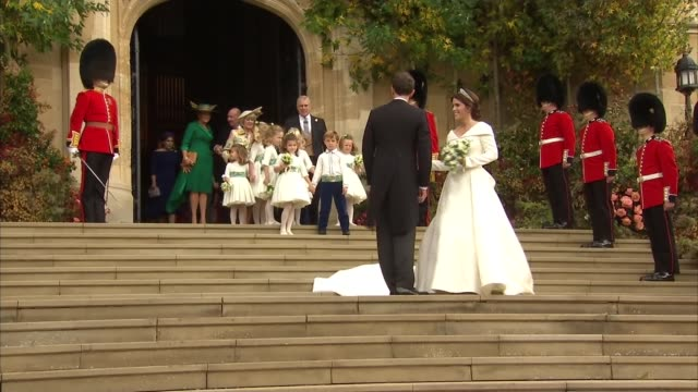 princess eugenie and jack brooksbank wedding: bridal party depart st george's chapel; england: berkshire: windsor: windsor castle: ext princess... - princess stock videos & royalty-free footage