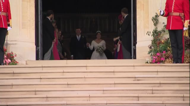 Princess Eugenie and Jack Brooksbank wedding bridal party depart St George's Chapel ENGLAND Berkshire Windsor Windsor Castle Princess Eugenie of York...
