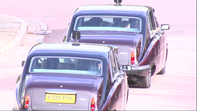 princess eugenie and jack brooksbank wedding carriage and guests depart england berkshire windsor princess charlotte of cambridge and other children... - carriage stock videos and b-roll footage