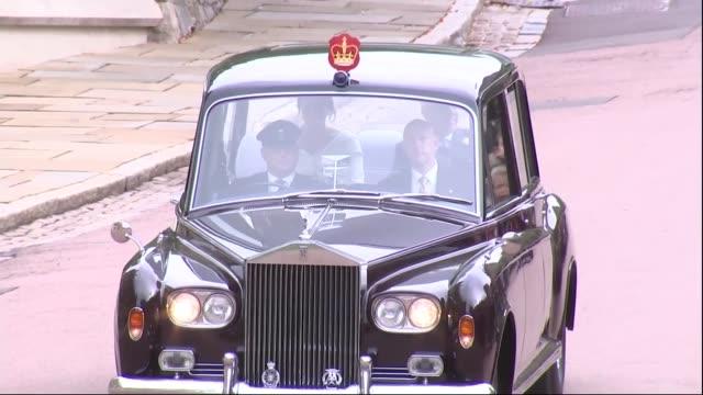 Princess Eugenie and Jack Brooksbank wedding Duke of York and Princess Eugenie car arrival ENGLAND Berkshire Windsor Windsor Castle EXT Car along...