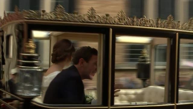 Princess Eugenie and Jack Brooksbank wedding ENGLAND Berkshire Windsor EXT Princess Eugenie of York now Princess Eugenie Mrs Jack Brooksbank and her...
