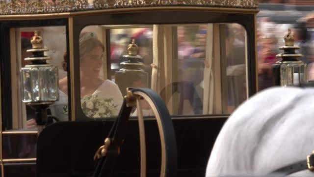 Princess Eugenie and Jack Brooksbank wedding ENGLAND Berkshire Windsor EXT Crowd lining street Princess Eugenie of York now Princess Eugenie Mrs Jack...