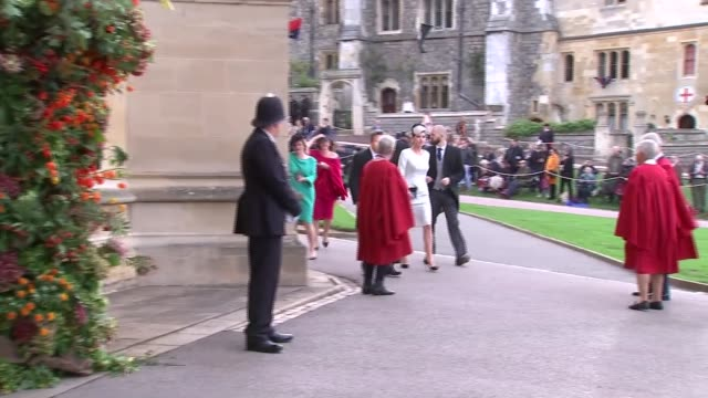 princess eugenie and jack brooksbank wedding guest arrivals england berkshire windsor windsor castle ext guests arriving at wedding and along into st... - st. george's chapel stock videos and b-roll footage