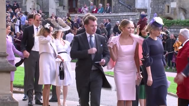 princess eugenie and jack brooksbank wedding guest arrivals england berkshire windsor windsor castle guests arriving at wedding / kate moss and lila... - berkshire england stock videos and b-roll footage