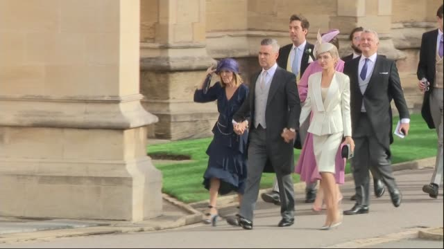 princess eugenie and jack brooksbank wedding guest arrivals england berkshire windsor windsor castle robbie williams arriving with ayda field and... - guest stock videos & royalty-free footage