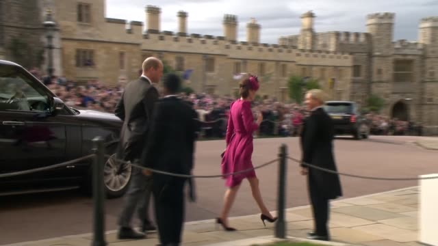 princess eugenie and jack brooksbank wedding royal arrivals including queen england berkshire windsor windsor castle range rovers along carrying... - princess michael of kent stock videos and b-roll footage