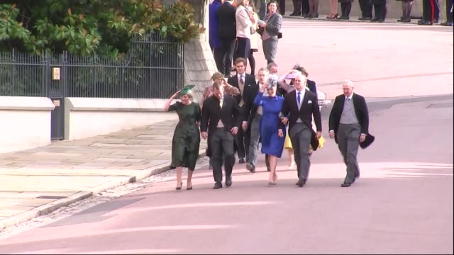 princess eugenie and jack brooksbank wedding: royal guests arrive ; england: berkshire: windsor: windsor castle: autumn phillips, peter phillips,... - peerage title stock videos & royalty-free footage