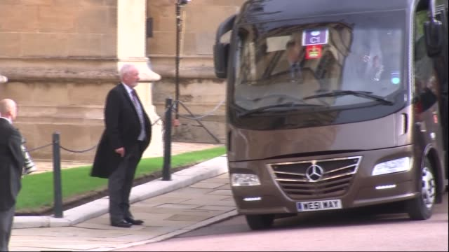 princess eugenie and jack brooksbank wedding royal guests arrive england berkshire windsor windsor castle coach along / princess michael of kent and... - princess michael of kent stock videos and b-roll footage