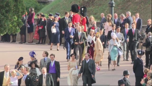 princess eugenie and jack brooksbank wedding royal guests arrive england berkshire windsor windsor castle ext royal standard flag flying over castle... - guest stock videos & royalty-free footage