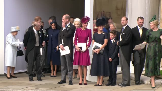 princess eugenie and jack brooksbank wedding royals and guests depart chapel england berkshire windsor windsor castle ext queen elizabeth ii and... - prince philip stock videos & royalty-free footage