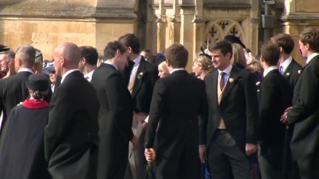Princess Eugenie and Jack Brooksbank wedding royals and guests depart chapel ENGLAND Berkshire Windsor Windsor Castle Guests depart and along...