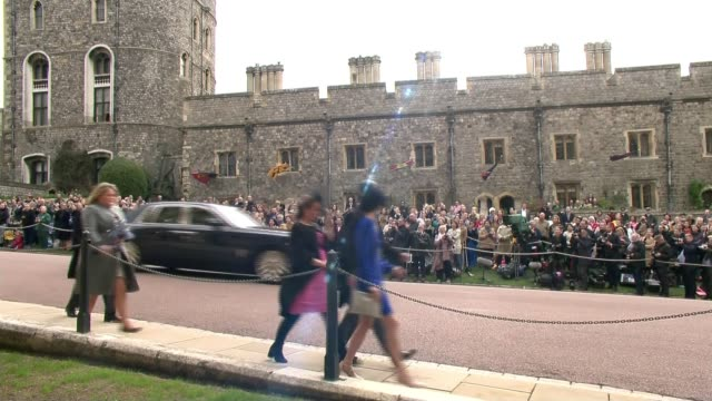 princess eugenie and jack brooksbank wedding uk berkshire windsor princess eugenie of york and wedding guests arriving at st george's chapel... - fiancé stock videos and b-roll footage