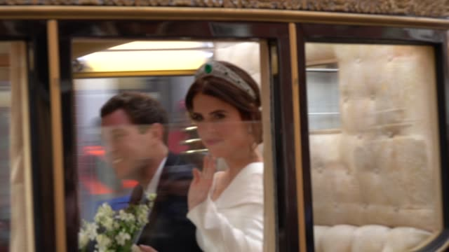 princess eugenie of york and mr. jack brooksbank ride in a carriage after their wedding at windsor castle on october 12, 2018 in windsor, england. - princess stock videos & royalty-free footage