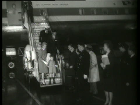 b/w princess grace and prince albert arrive ny airport / 1960s / sound - grace kelly actress stock videos and b-roll footage